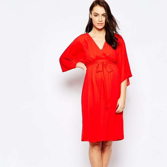413276aeadac4 ASOS Maternity Dresses & Skirts - ASOS Maternity Plunge Kimono Midi Dress -  Red ...